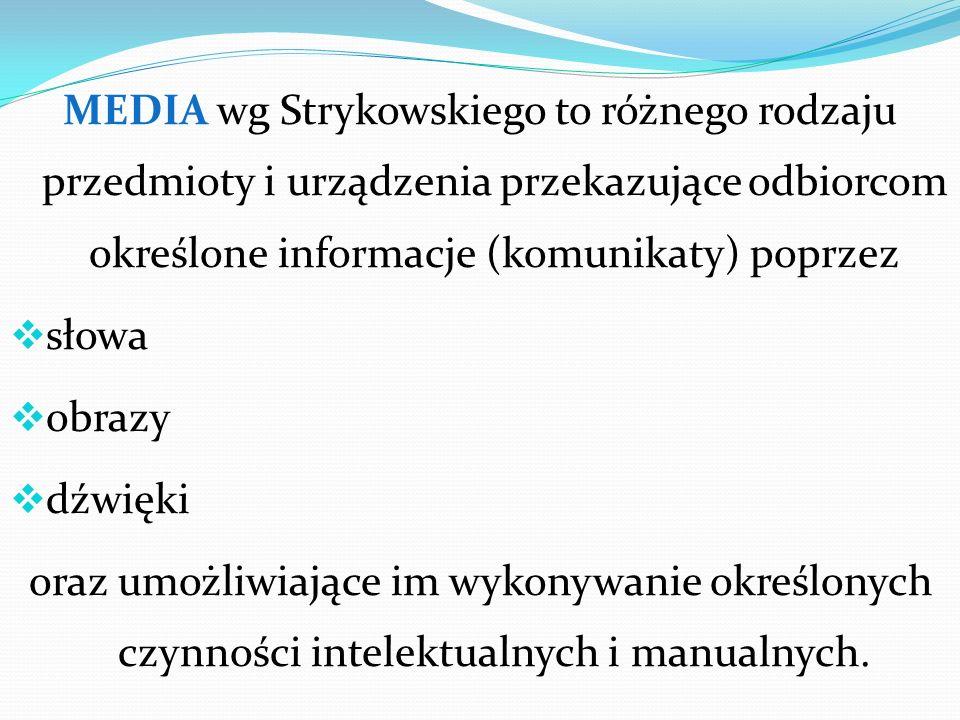 MEDIA wg Strykowskiego to różnego rodzaju przedmioty i urządzenia przekazujące odbiorcom określone informacje (komunikaty) poprzez słowa obrazy dźwięk