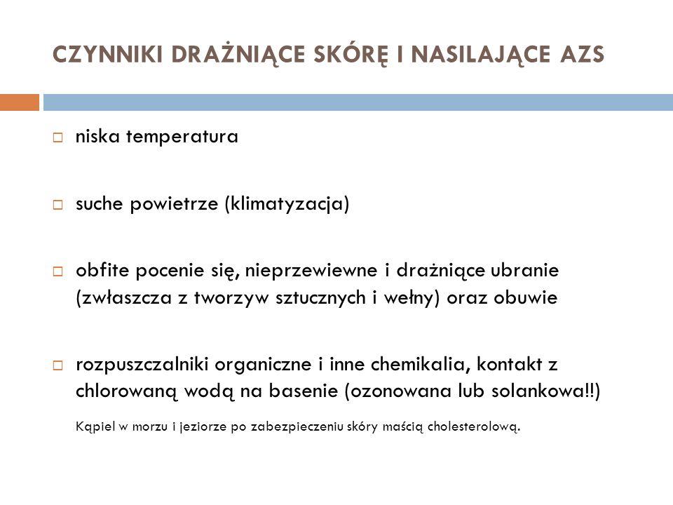 CZYNNIKI DRAŻNIĄCE SKÓRĘ I NASILAJĄCE AZS niska temperatura suche powietrze (klimatyzacja) obfite pocenie się, nieprzewiewne i drażniące ubranie (zwła