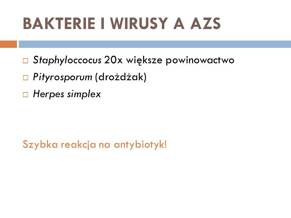 BAKTERIE I WIRUSY A AZS Staphyloccocus 20x większe powinowactwo Pityrosporum (drożdżak) Herpes simplex Szybka reakcja na antybiotyk!