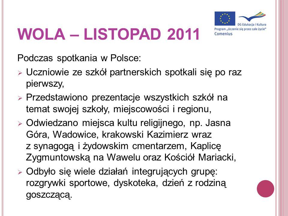 Podczas spotkania w Polsce: Uczniowie ze szkół partnerskich spotkali się po raz pierwszy, Przedstawiono prezentacje wszystkich szkół na temat swojej s