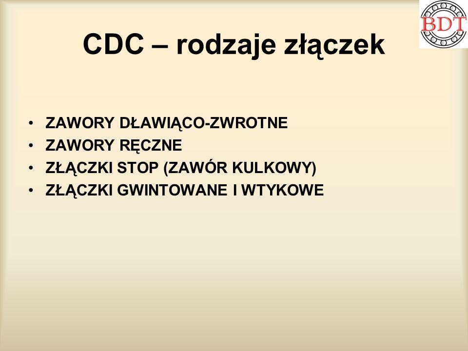CDC – rodzaje złączek ZAWORY DŁAWIĄCO-ZWROTNE ZAWORY RĘCZNE ZŁĄCZKI STOP (ZAWÓR KULKOWY) ZŁĄCZKI GWINTOWANE I WTYKOWE