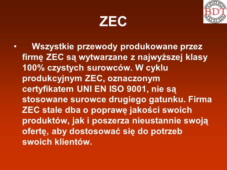 ZEC Wszystkie przewody produkowane przez firmę ZEC są wytwarzane z najwyższej klasy 100% czystych surowców. W cyklu produkcyjnym ZEC, oznaczonym certy