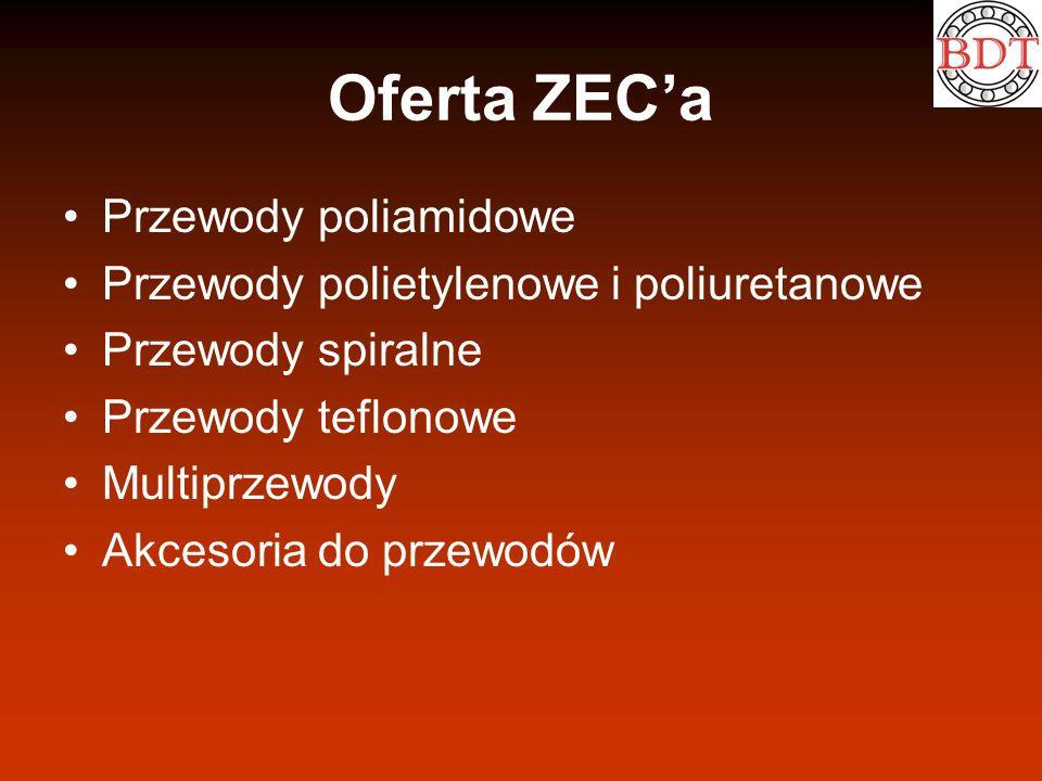 Oferta ZECa Przewody poliamidowe Przewody polietylenowe i poliuretanowe Przewody spiralne Przewody teflonowe Multiprzewody Akcesoria do przewodów