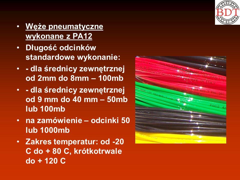 Węże pneumatyczne wykonane z PA12 Długość odcinków standardowe wykonanie: - dla średnicy zewnętrznej od 2mm do 8mm – 100mb - dla średnicy zewnętrznej