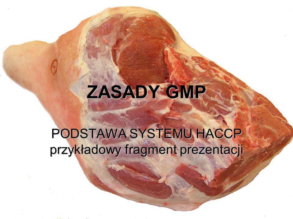 ZASADY GMP PODSTAWA SYSTEMU HACCP przykładowy fragment prezentacji
