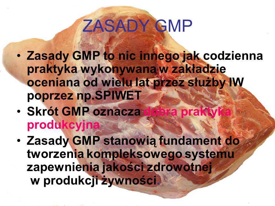 ZASADY GMP Zasady GMP to nic innego jak codzienna praktyka wykonywana w zakładzie oceniana od wielu lat przez służby IW poprzez np.SPIWET Skrót GMP oz