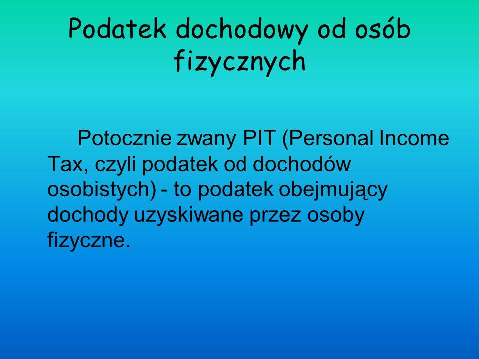 Podatek dochodowy od osób fizycznych Potocznie zwany PIT (Personal Income Tax, czyli podatek od dochodów osobistych) - to podatek obejmujący dochody u