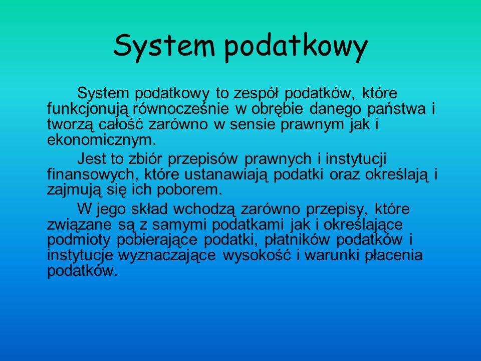 System podatkowy System podatkowy to zespół podatków, które funkcjonują równocześnie w obrębie danego państwa i tworzą całość zarówno w sensie prawnym