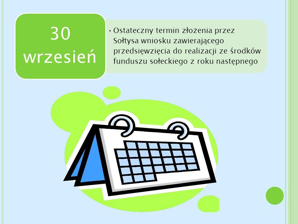 Ostateczny termin złożenia przez Sołtysa wniosku zawierającego przedsięwzięcia do realizacji ze środków funduszu sołeckiego z roku następnego 30 wrzes