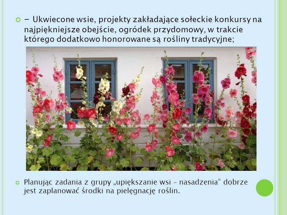 - Ukwiecone wsie, projekty zakładające sołeckie konkursy na najpiękniejsze obejście, ogródek przydomowy, w trakcie którego dodatkowo honorowane są roś