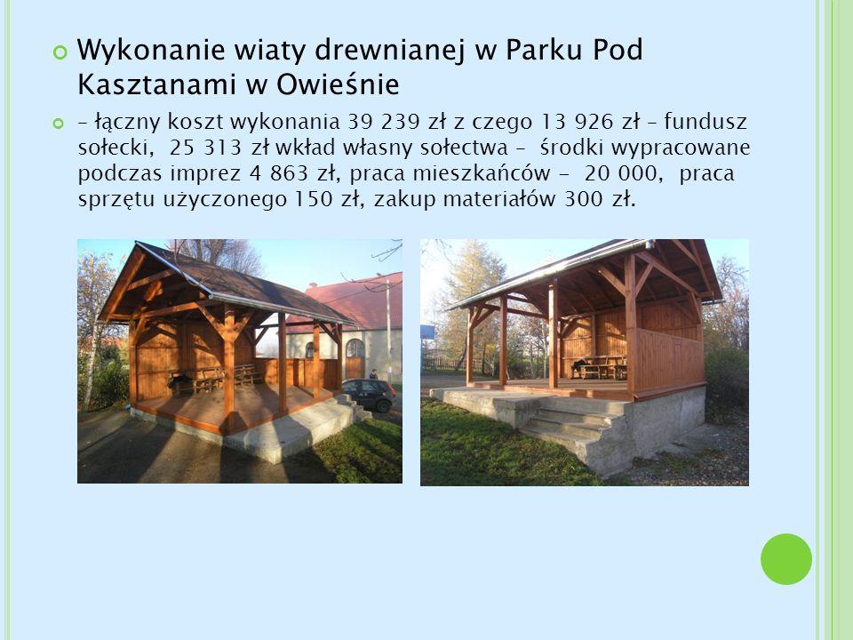 Wykonanie wiaty drewnianej w Parku Pod Kasztanami w Owieśnie – łączny koszt wykonania 39 239 zł z czego 13 926 zł – fundusz sołecki, 25 313 zł wkład w
