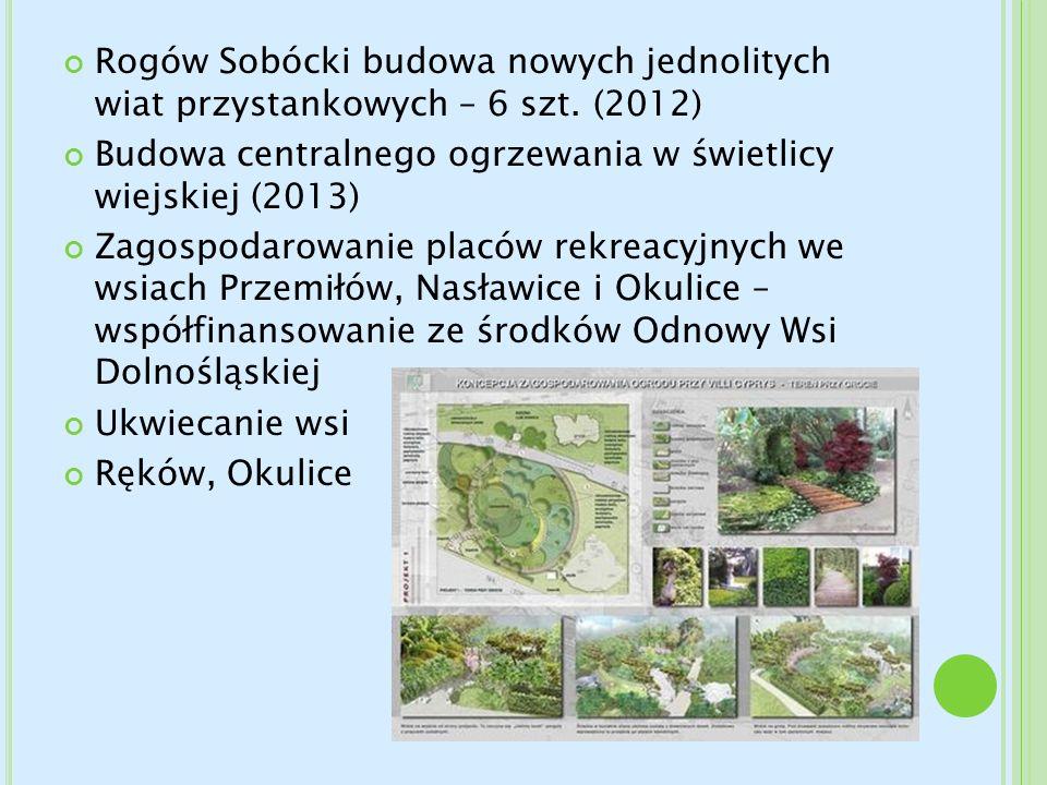 Rogów Sobócki budowa nowych jednolitych wiat przystankowych – 6 szt. (2012) Budowa centralnego ogrzewania w świetlicy wiejskiej (2013) Zagospodarowani