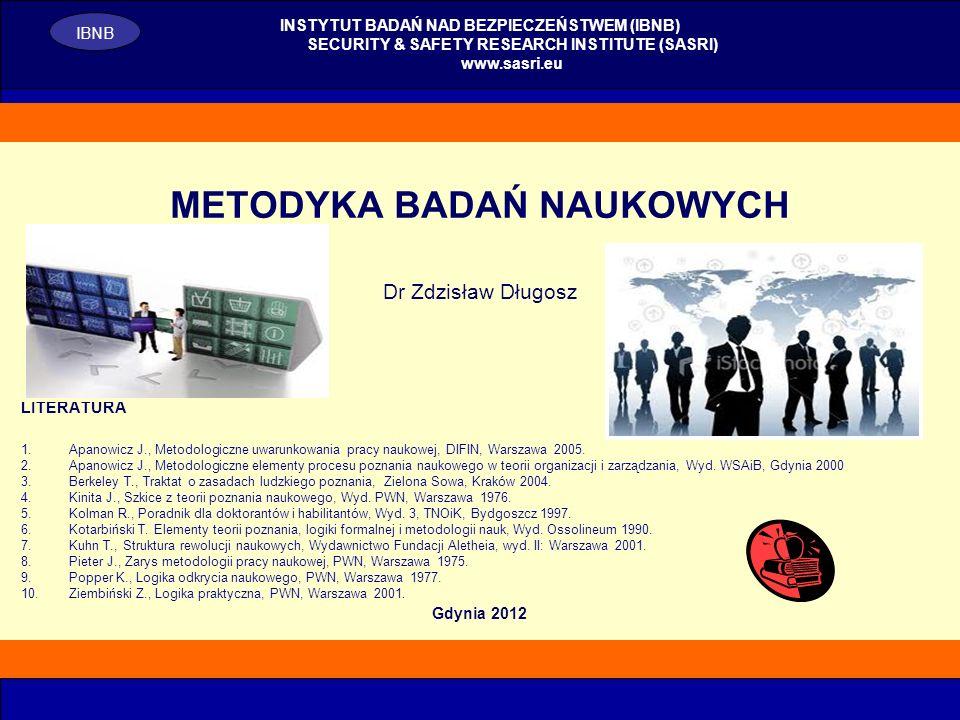 1 METODYKA BADAŃ NAUKOWYCH Dr Zdzisław Długosz LITERATURA 1.Apanowicz J., Metodologiczne uwarunkowania pracy naukowej, DIFIN, Warszawa 2005. 2.Apanowi