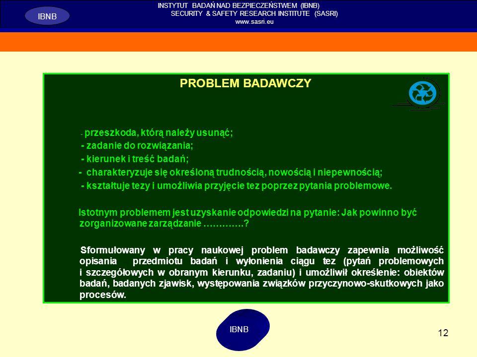 12 INSTYTUT BADAŃ NAD BEZPIECZEŃSTWEM (IBNB) SECURITY & SAFETY RESEARCH INSTITUTE (SASRI) www.sasri.eu IBNB PROBLEM BADAWCZY - przeszkoda, którą należ