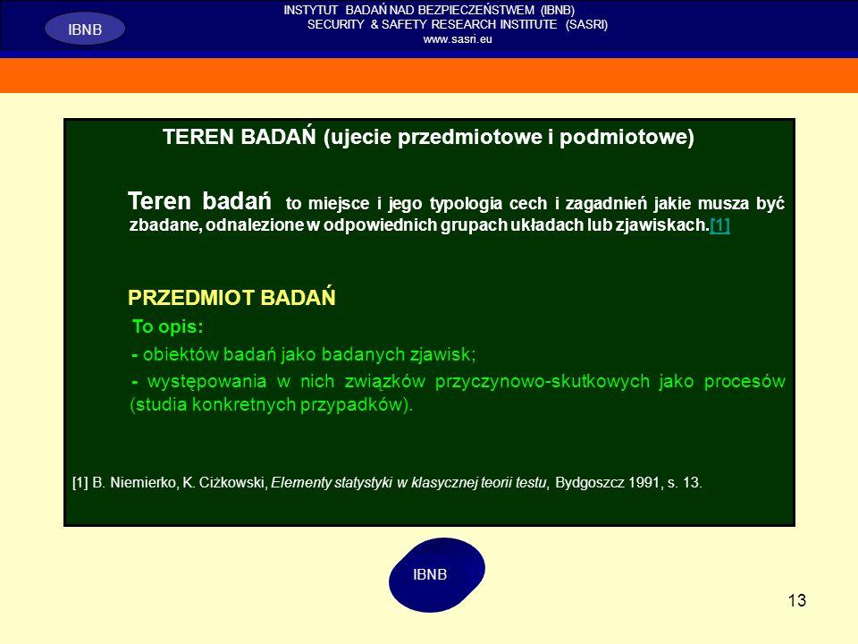 13 INSTYTUT BADAŃ NAD BEZPIECZEŃSTWEM (IBNB) SECURITY & SAFETY RESEARCH INSTITUTE (SASRI) www.sasri.eu IBNB TEREN BADAŃ (ujecie przedmiotowe i podmiot