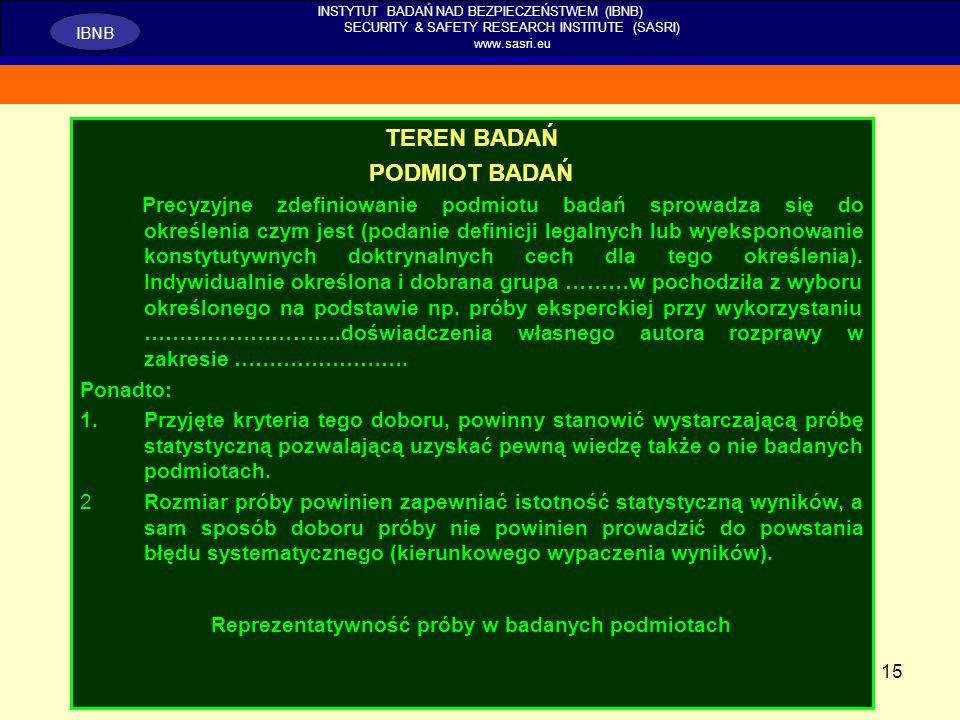 15 INSTYTUT BADAŃ NAD BEZPIECZEŃSTWEM (IBNB) SECURITY & SAFETY RESEARCH INSTITUTE (SASRI) www.sasri.eu IBNB TEREN BADAŃ PODMIOT BADAŃ Precyzyjne zdefi