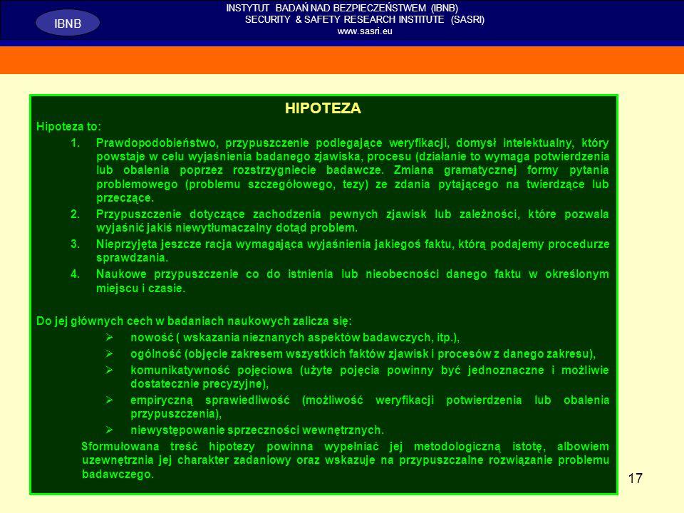 17 INSTYTUT BADAŃ NAD BEZPIECZEŃSTWEM (IBNB) SECURITY & SAFETY RESEARCH INSTITUTE (SASRI) www.sasri.eu IBNB HIPOTEZA Hipoteza to: 1.Prawdopodobieństwo
