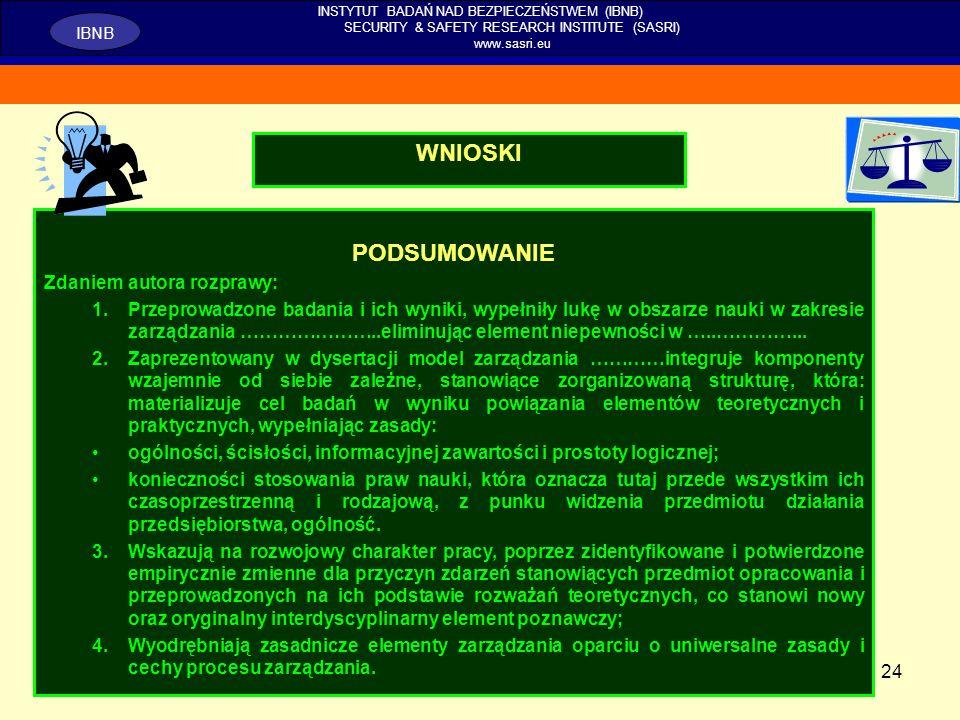 24 INSTYTUT BADAŃ NAD BEZPIECZEŃSTWEM (IBNB) SECURITY & SAFETY RESEARCH INSTITUTE (SASRI) www.sasri.eu IBNB WNIOSKI PODSUMOWANIE Zdaniem autora rozpra