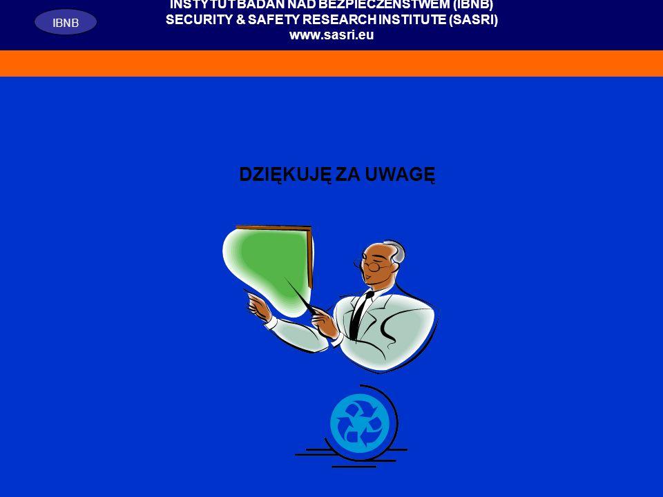 26 INSTYTUT BADAŃ NAD BEZPIECZEŃSTWEM (IBNB) SECURITY & SAFETY RESEARCH INSTITUTE (SASRI) www.sasri.eu IBNB DZIĘKUJĘ ZA UWAGĘ