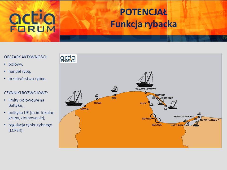 POTENCJAŁ Funkcja rybacka OBSZARY AKTYWNOŚCI: połowy, handel rybą, przetwórstwo rybne. CZYNNIKI ROZWOJOWE: limity połowowe na Bałtyku, polityka UE (m.