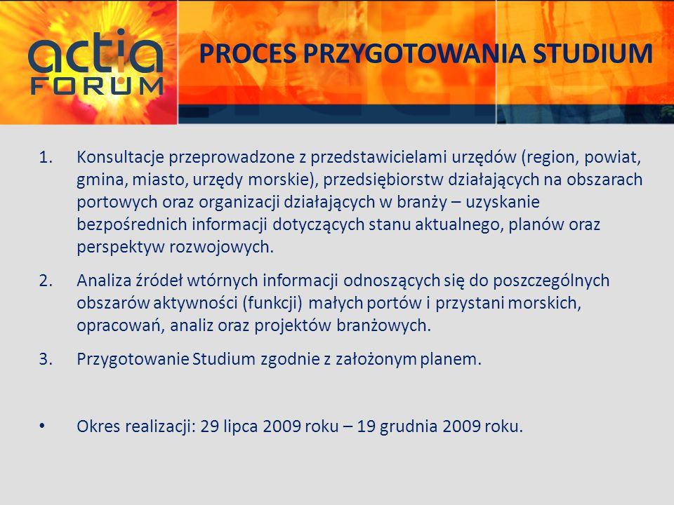 PROCES PRZYGOTOWANIA STUDIUM 1.Konsultacje przeprowadzone z przedstawicielami urzędów (region, powiat, gmina, miasto, urzędy morskie), przedsiębiorstw