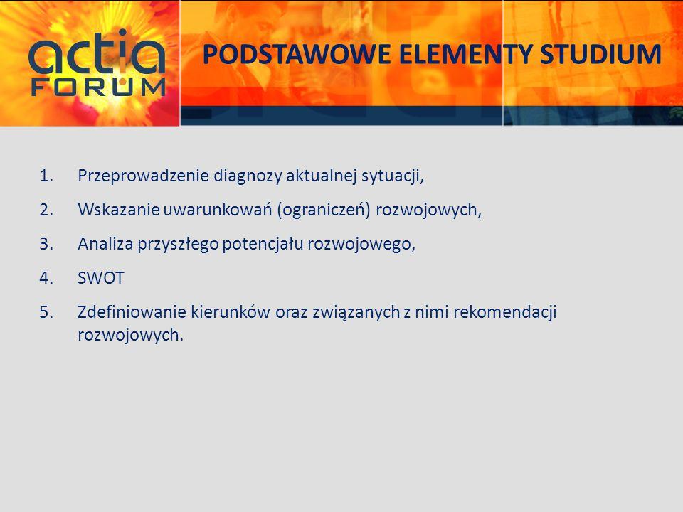 PODSTAWOWE ELEMENTY STUDIUM 1.Przeprowadzenie diagnozy aktualnej sytuacji, 2.Wskazanie uwarunkowań (ograniczeń) rozwojowych, 3.Analiza przyszłego pote