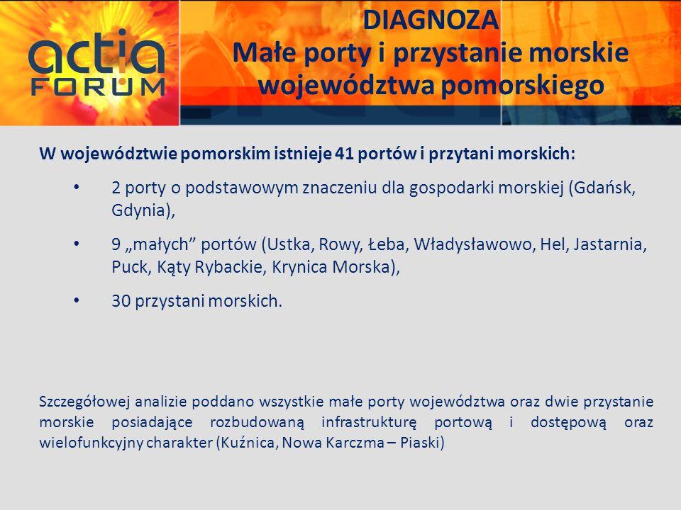 DIAGNOZA Małe porty i przystanie morskie województwa pomorskiego W województwie pomorskim istnieje 41 portów i przytani morskich: 2 porty o podstawowy