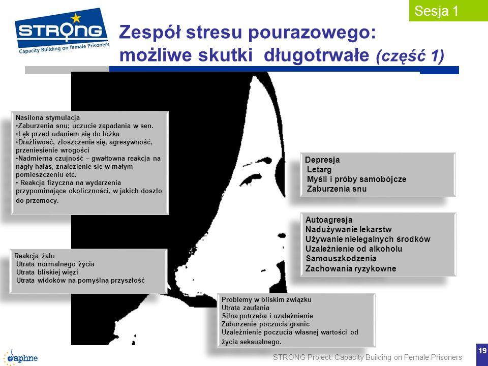 STRONG Project: Capacity Building on Female Prisoners 19 Zespół stresu pourazowego: możliwe skutki długotrwałe (część 1) Sesja 1 Depresja Letarg Myśli