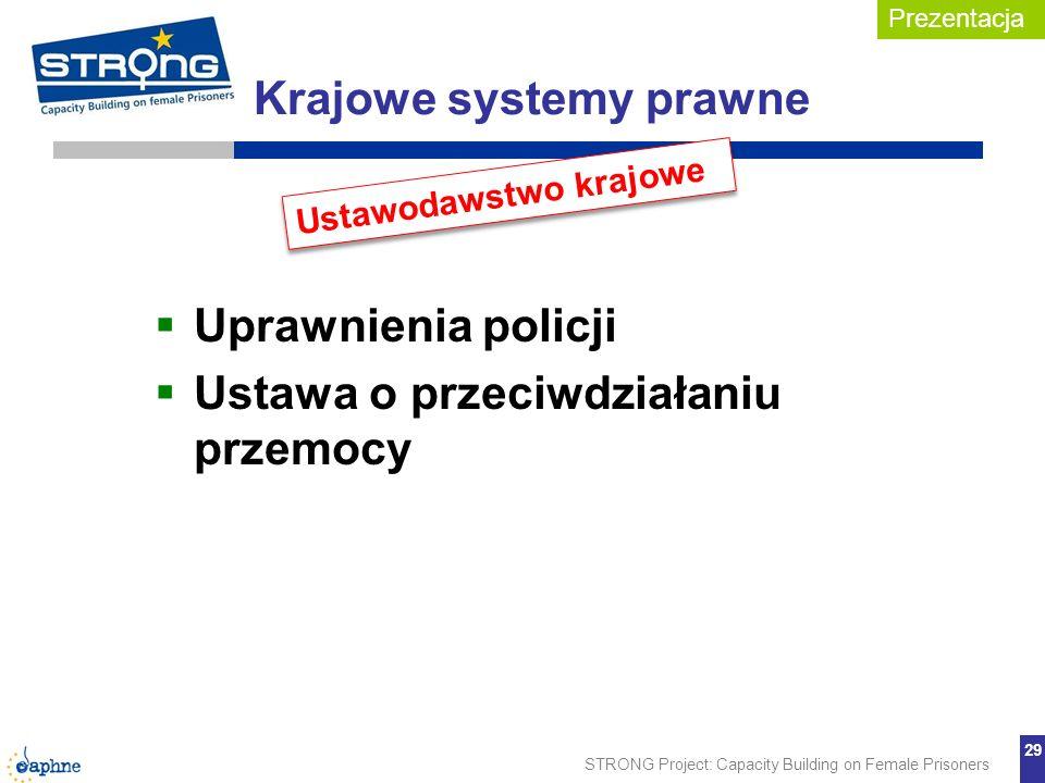 STRONG Project: Capacity Building on Female Prisoners 29 Krajowe systemy prawne Uprawnienia policji Ustawa o przeciwdziałaniu przemocy Ustawodawstwo k