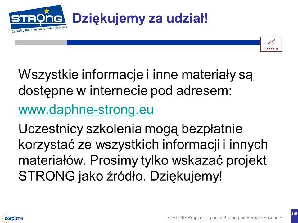 STRONG Project: Capacity Building on Female Prisoners 58 Wszystkie informacje i inne materiały są dostępne w internecie pod adresem: www.daphne-strong
