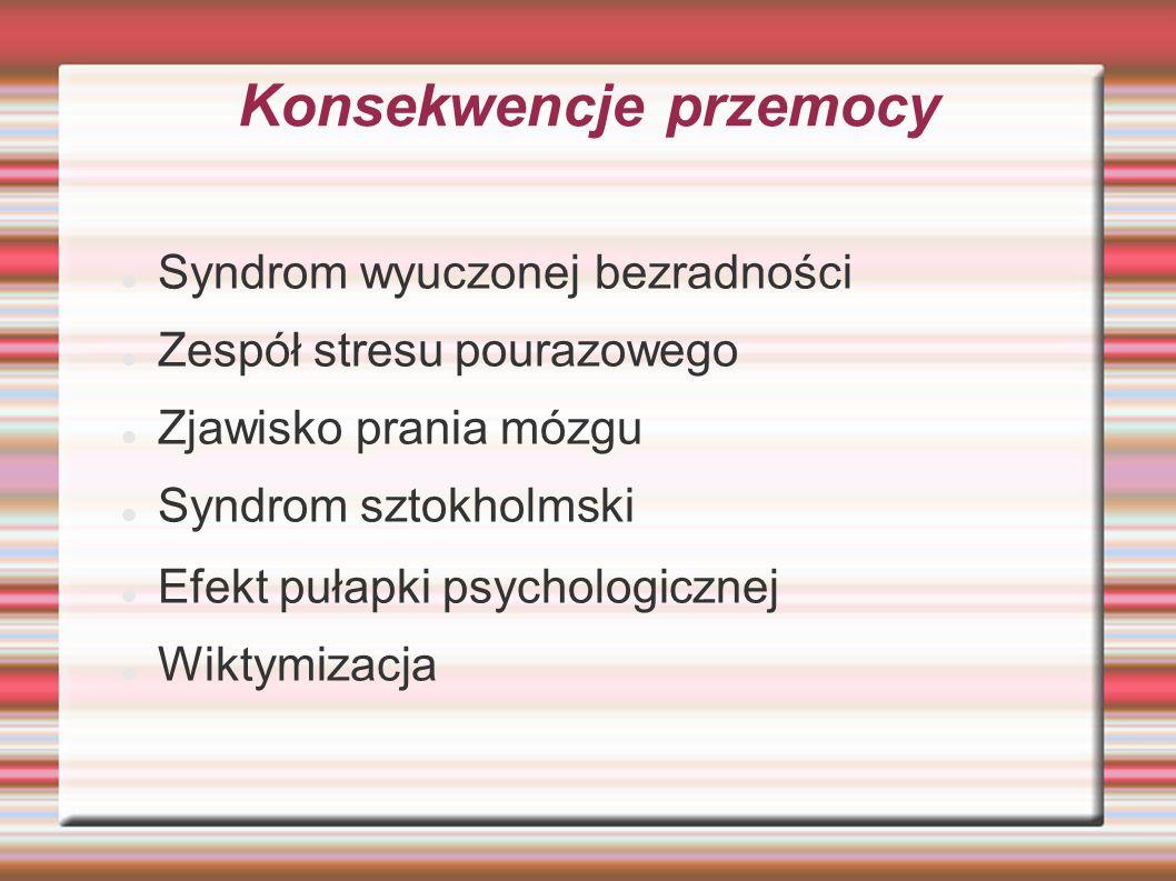 Konsekwencje przemocy Syndrom wyuczonej bezradności Zespół stresu pourazowego Zjawisko prania mózgu Syndrom sztokholmski Efekt pułapki psychologicznej