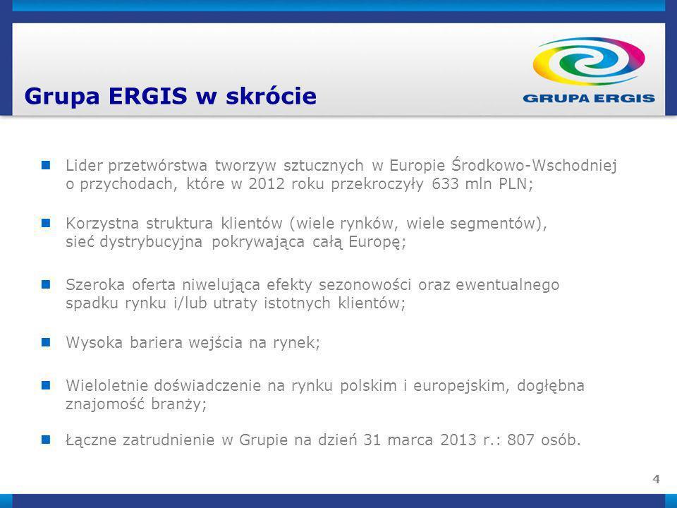 4 Lider przetwórstwa tworzyw sztucznych w Europie Środkowo-Wschodniej o przychodach, które w 2012 roku przekroczyły 633 mln PLN; Korzystna struktura k