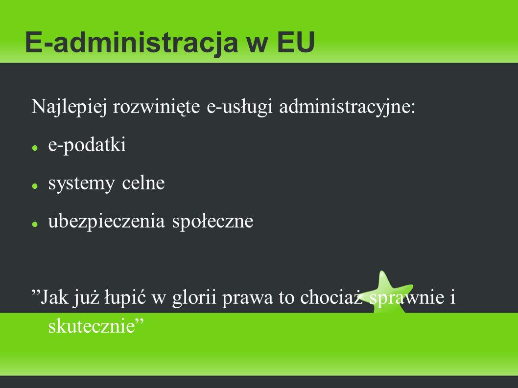 E-administracja w EU Najlepiej rozwinięte e-usługi administracyjne: e-podatki systemy celne ubezpieczenia społeczne Jak już łupić w glorii prawa to ch