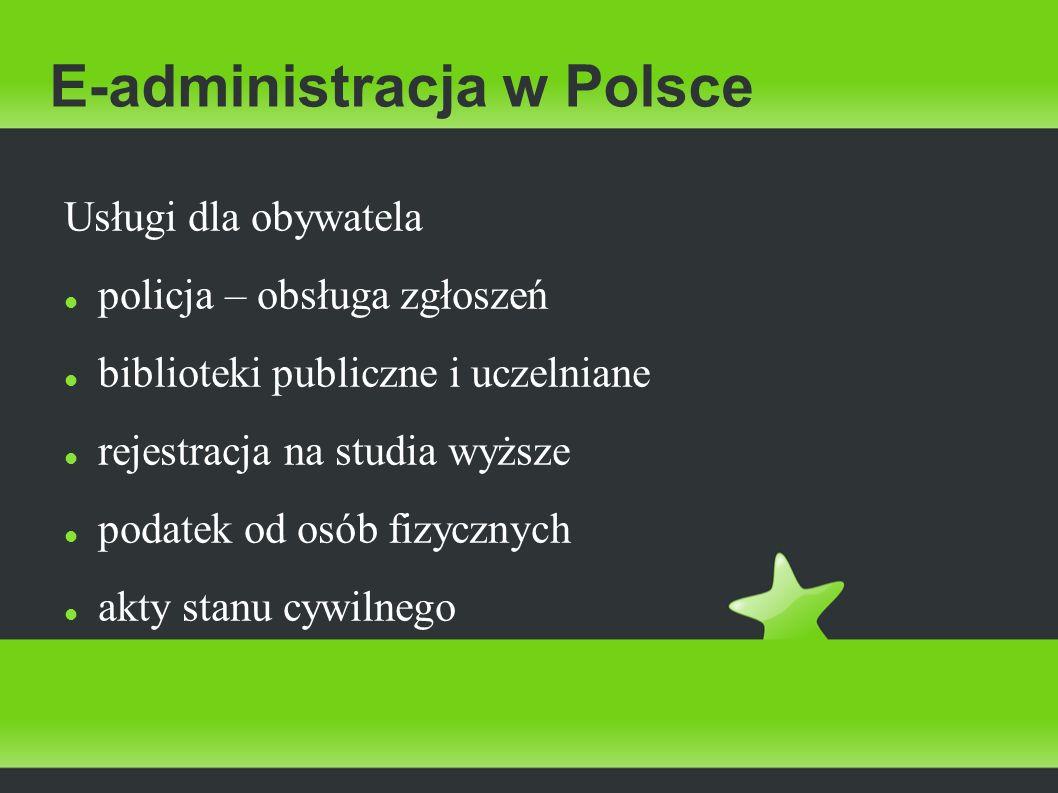 E-administracja w Polsce Usługi dla obywatela policja – obsługa zgłoszeń biblioteki publiczne i uczelniane rejestracja na studia wyższe podatek od osó