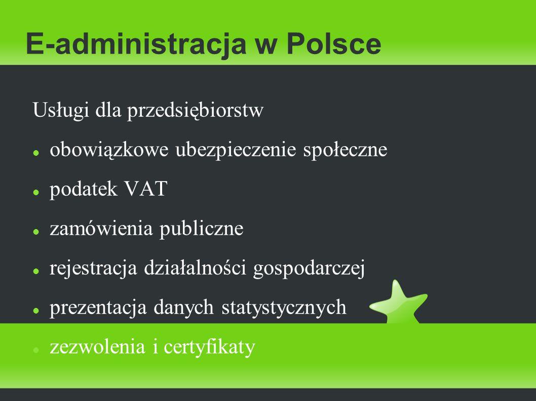 E-administracja w Polsce Usługi dla przedsiębiorstw obowiązkowe ubezpieczenie społeczne podatek VAT zamówienia publiczne rejestracja działalności gosp