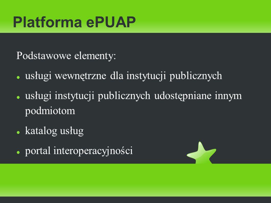 Platforma ePUAP Podstawowe elementy: usługi wewnętrzne dla instytucji publicznych usługi instytucji publicznych udostępniane innym podmiotom katalog u