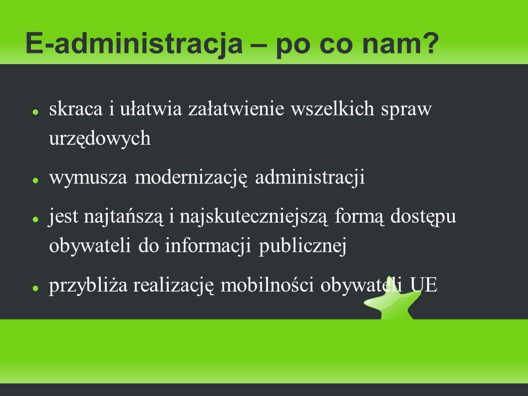E-administracja – po co nam? skraca i ułatwia załatwienie wszelkich spraw urzędowych wymusza modernizację administracji jest najtańszą i najskutecznie