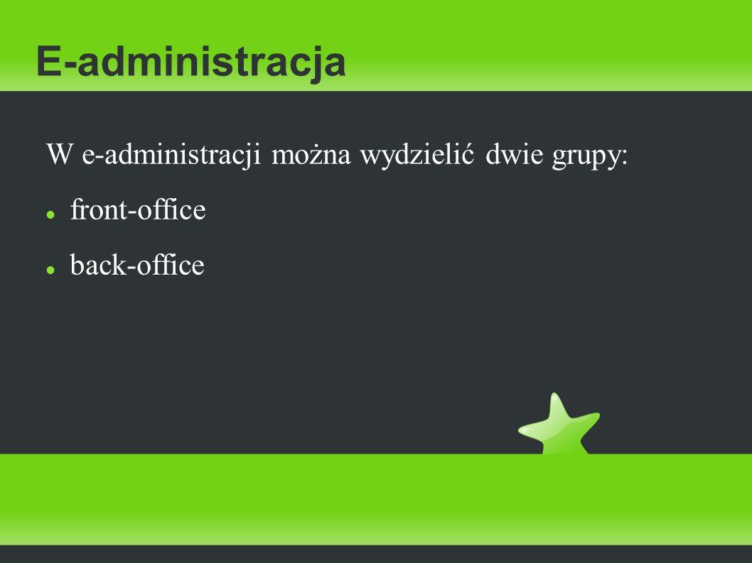 E-administracja W e-administracji można wydzielić dwie grupy: front-office back-office