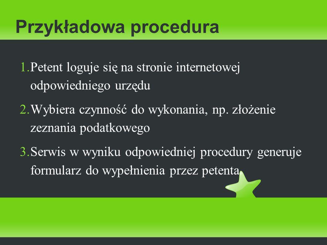 Przykładowa procedura 4.Po wypełnieniu wymaganych / wszystkich pól interesant wysyła formularz 5.
