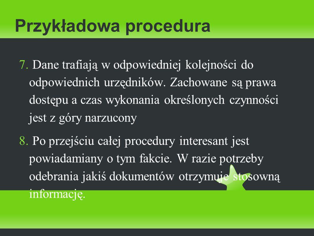 Przykładowa procedura 7. Dane trafiają w odpowiedniej kolejności do odpowiednich urzędników. Zachowane są prawa dostępu a czas wykonania określonych c