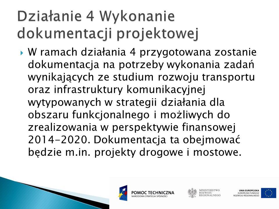 W ramach działania 4 przygotowana zostanie dokumentacja na potrzeby wykonania zadań wynikających ze studium rozwoju transportu oraz infrastruktury kom