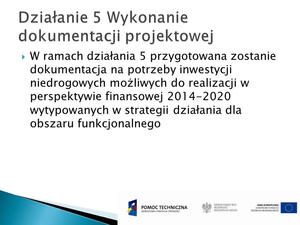 W ramach działania 5 przygotowana zostanie dokumentacja na potrzeby inwestycji niedrogowych możliwych do realizacji w perspektywie finansowej 2014-202