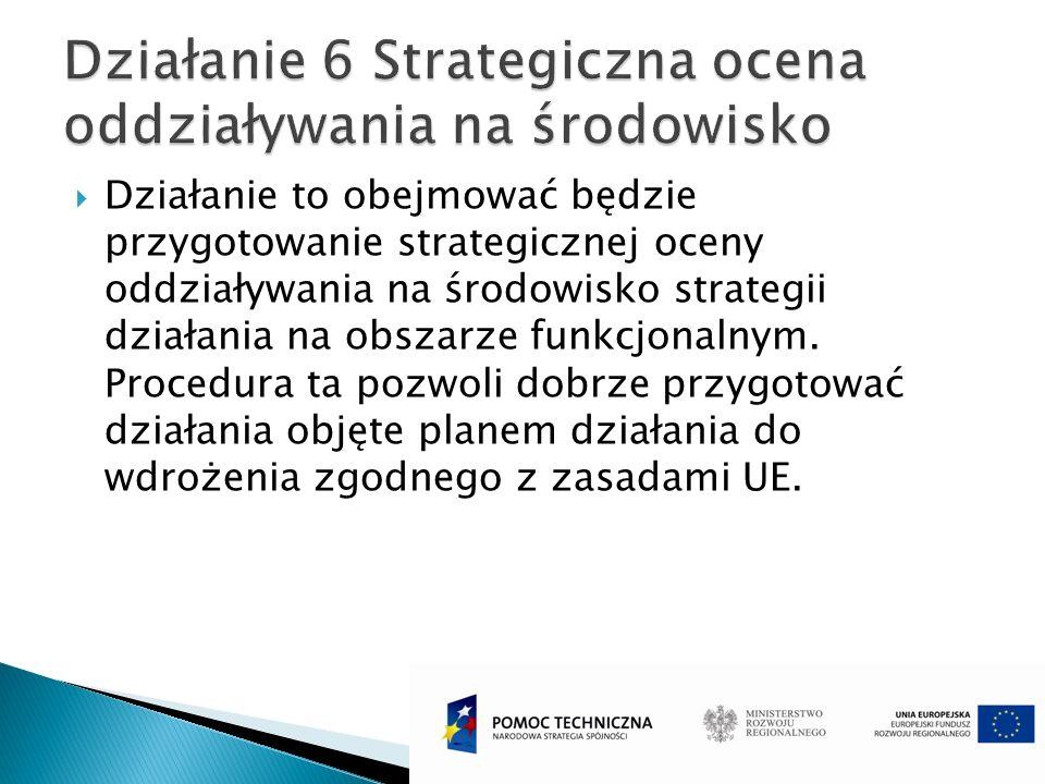 Działanie to obejmować będzie przygotowanie strategicznej oceny oddziaływania na środowisko strategii działania na obszarze funkcjonalnym. Procedura t