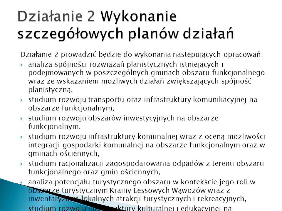 Działanie 2 prowadzić będzie do wykonania następujących opracowań: analiza spójności rozwiązań planistycznych istniejących i podejmowanych w poszczegó