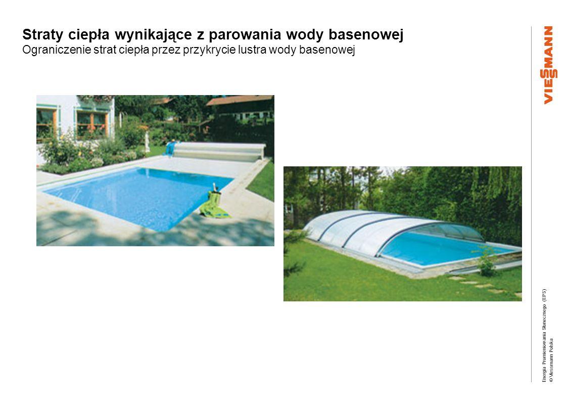 Energia Promieniowania Słonecznego (EPS) © Viessmann Polska Straty ciepła wynikające z parowania wody basenowej Ograniczenie strat ciepła przez przykr