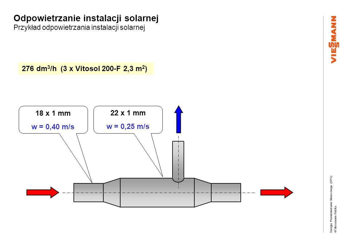 Energia Promieniowania Słonecznego (EPS) © Viessmann Polska Odpowietrzanie instalacji solarnej Przykład odpowietrzania instalacji solarnej 276 dm 3 /h