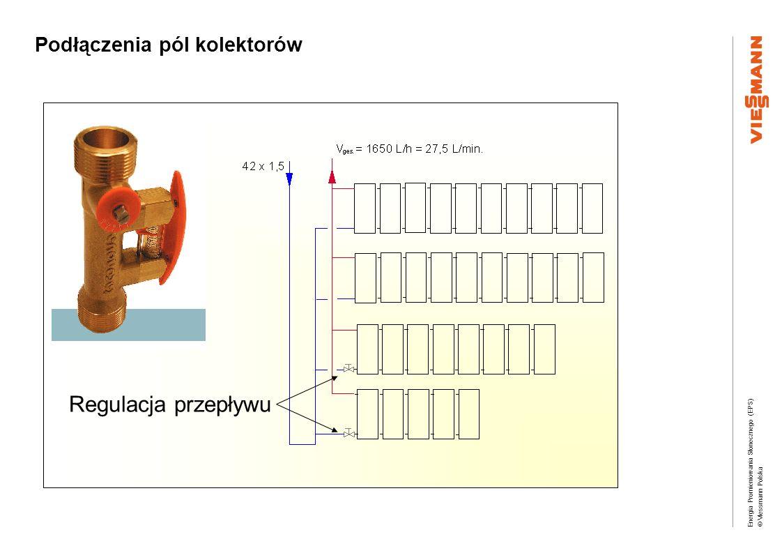 Energia Promieniowania Słonecznego (EPS) © Viessmann Polska Regulacja przepływu Podłączenia pól kolektorów