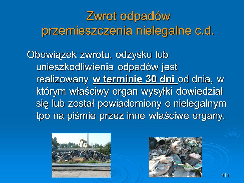 Zwrot odpadów przemieszczenia nielegalne c.d.
