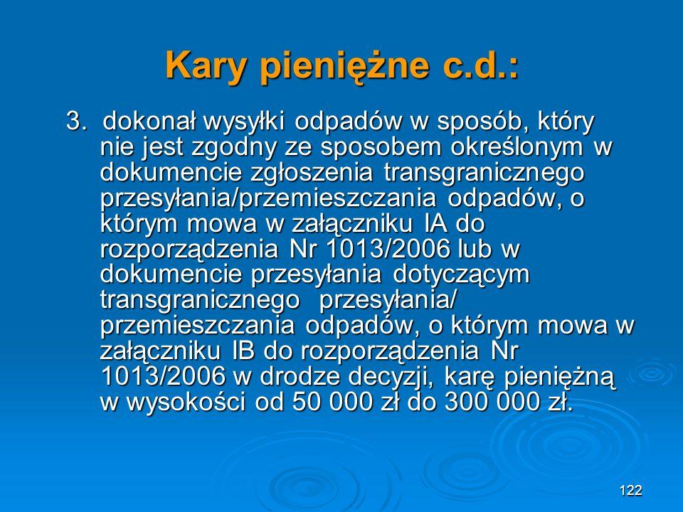 Kary pieniężne c.d.: 3.