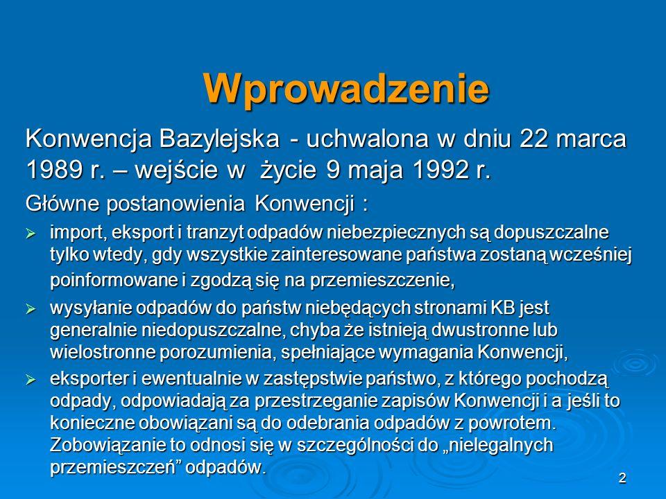 Wprowadzenie Konwencja Bazylejska - uchwalona w dniu 22 marca 1989 r.